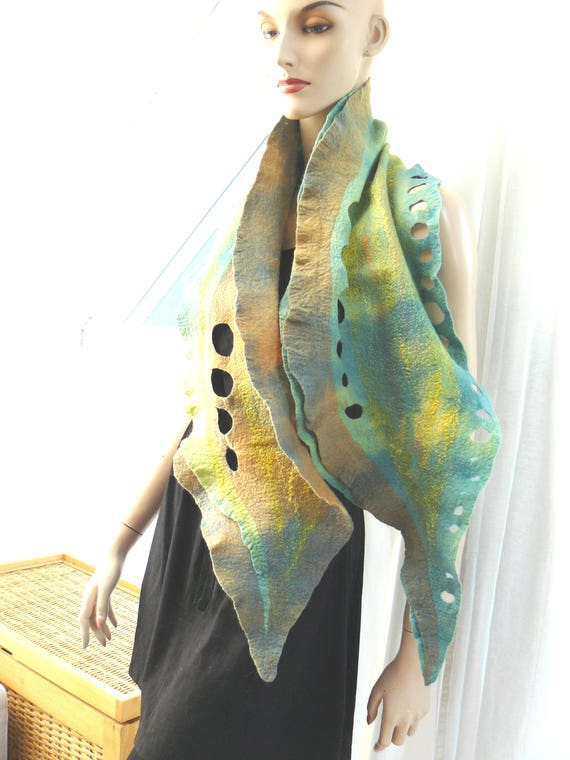 Felted scarf, Clothing gift scarf, wool and silk, colorfull scarf