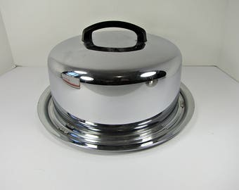 Vintage CHROME CAKE CARRIER w/ Locking Lid Pastry Cover & Plate Cupcake Platter Keeper Taker Everedy