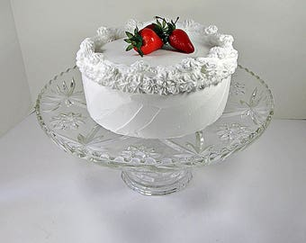 Vintage EAPC CAKE STAND Star of David Plate Anchor Hocking Glass Pastry Display Cupcake Doughnut