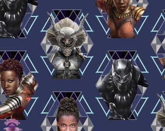 140161258 - Pre-Order Marvel Black Panther Wakanda Warriors Cotton Fabric July Shipment