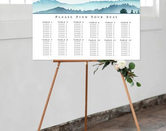 Digital Digital Reception Seating Chart, Wedding Reception Sign, Day Of Stationery - Blue Mountains (Style 0025)