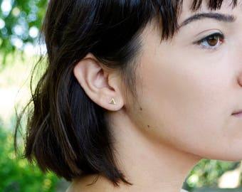 Mini Triangle Post Earring, Gold Post Earrings, 14kt Gold Filled Post Triangle, Simple Flat Stud Earrings