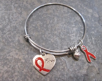 Heart Disease Awareness Adjustable Bangle Bracelet in Stainless Steel with Red Ribbon and heart charms