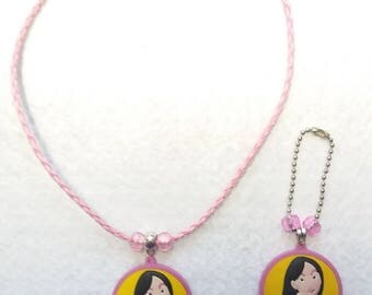 Mulan Set of Necklace and Zipper Pull