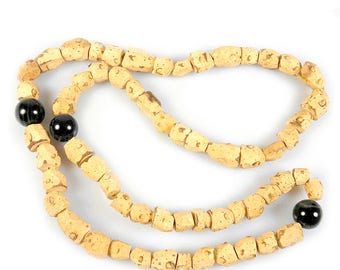 West African Natural Cork Beads Necklace for Nursing Mother, Mali