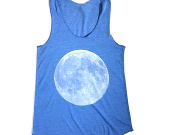 TRI-BLEND racerback MOON women's silkscreen full moon design blue tank top in size Medium, Large, or Extra Large