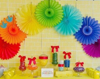 Hanging Fans Paper Fans Rosettes 6  Pinwheels Banner Rainbow Decoration Party Fans Table Backdrop Photo Background Unicorn Party Fiesta