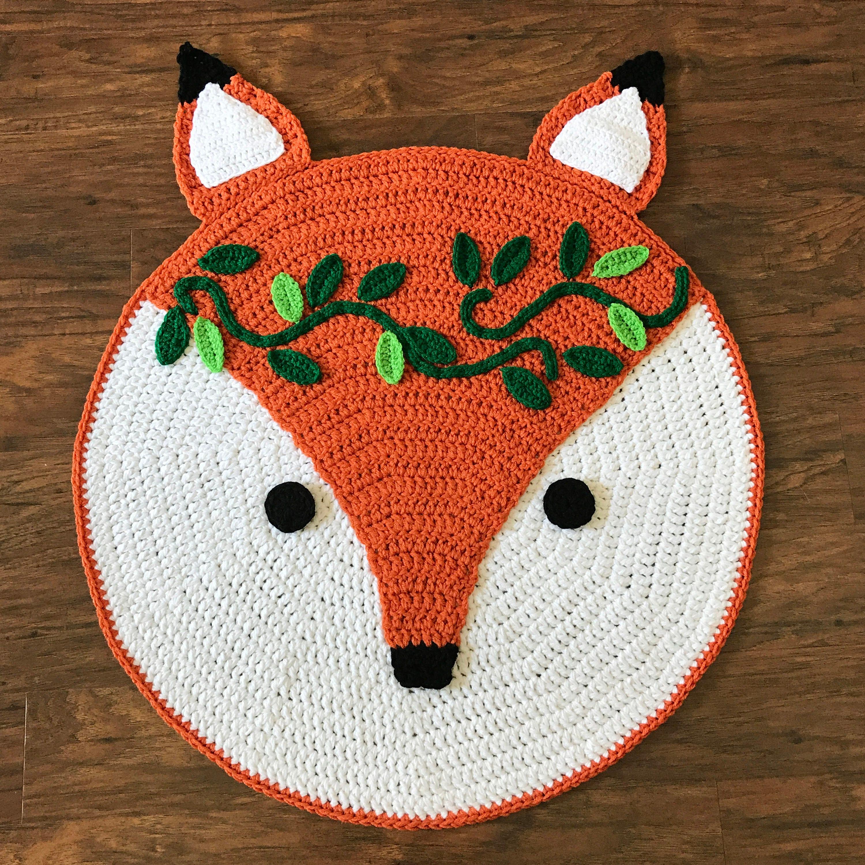 Crochet Rug Pattern Crochet Fox Woodland Fox Rug Pattern