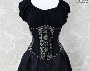 """Steampunk Front and Back Lacing Steel Boned Waspie Corset -- Black & Silvery Beige -- Size 34"""", Fits Waist 37""""-39"""" -- Ready to Ship"""