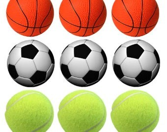 Sports Balls Printable 1-Inch Circles / Bottlecap Images / Baseball Basketball Soccer Tennis Volleyball / Digital Collage / Instant Download
