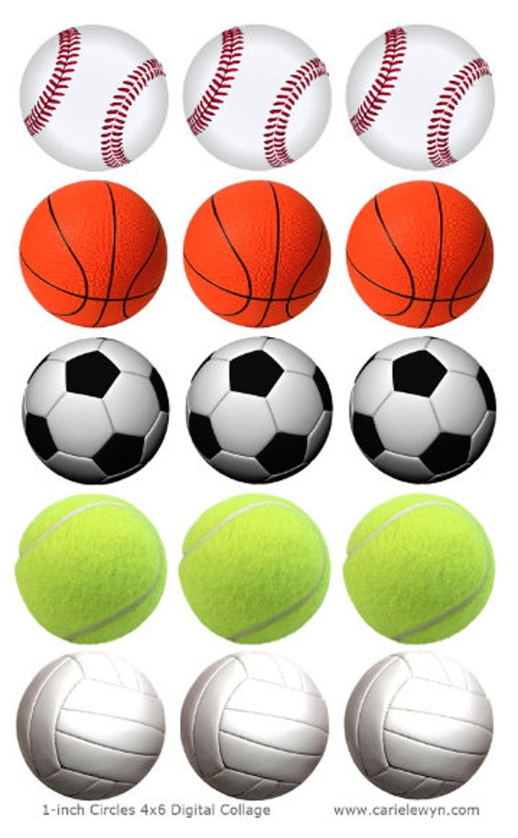 balls printable sports inch baseball basketball circles collage volleyball bottlecap soccer tennis instant name have