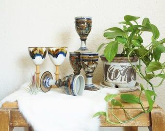 Vintage Blue Brown Rust Ceramic Goblets - Set of 4