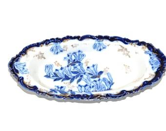 Vintage Blue and White Ceramic Dish Italian Ceramic Dish Relish Dish Blue and White Serving Dish Iris Flowers