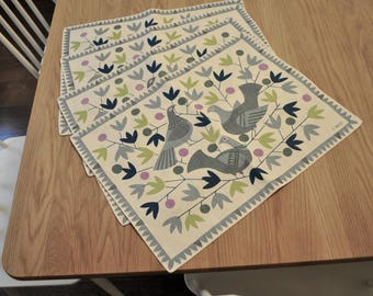 C Arfelt Swedish Linen Vintage 4 placemats c. 1960s Marimekko Scandinavian design signed