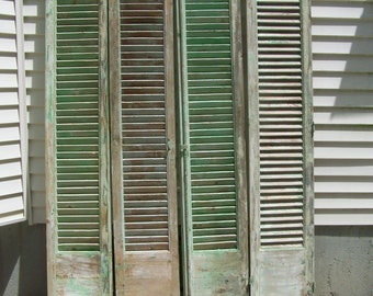 vintage wood shutters,mediterranean shutters,tall four panels,chippy aqua green brown paint,reclaimed salvage window shutters,architectural5