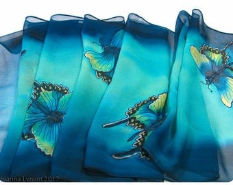 "Silk Scarf. Swallowtail Butterfly scarf. 14x67"". Hand painted silk scarves. Painted silk scarf. Handpainted silk scarf. Painted silk scarves"