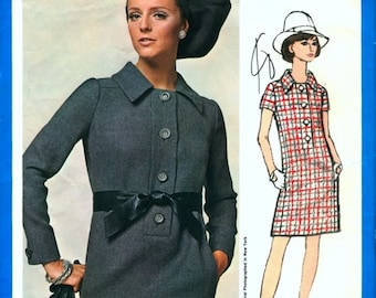 Mod Uncut Vintage 1960s Vogue Americana 1872 Designer Chuck Howard Shift Shirt Dress Sewing Pattern B36 with Sew-In Label