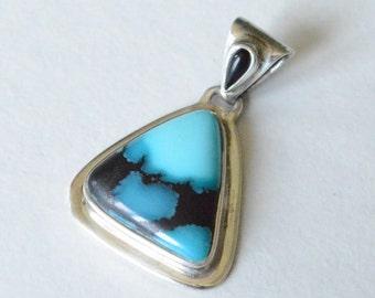 SALE Vintage Sterling Silver Blue Gemstone Turquoise Necklace Pendant