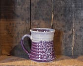 Carved Lupin mug in Purple Haze by Village Pottery Prince Edward Island PEI