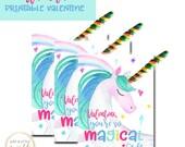 Unicorn Valentine tags, Printable Valentine Tags, Valentine, Unicorn Valentine, Valentine Printables