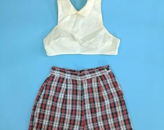 1950s Red White Plaid High Waist Cotton Shorts Small XS 24/25 Waist