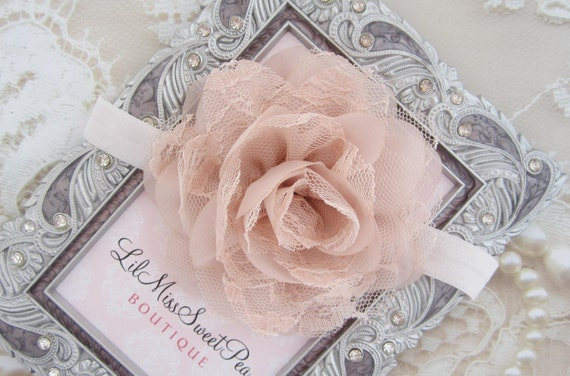 Blush 4 inch lace and chiffon petal flower on 5/8 inch elastic or a clip, bebe, foto, flower clip, photos, Lil Miss Sweet Pea