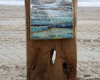 Abstract wood art, painted abstract on wood, beach style abstraction, coastal wood art, light blue and brown, painted wood wall hanging