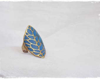 Statement Leaf Ring, Brass Tribal Ring,Woodland Leaf Ring, Sea Blue Ring, Polymer Clay Ring, Large Brass Ring, Gypsy Brass Ring, Boho Ring