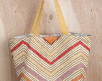 Fiesta Tote bag 2- Chevron- Natural Damask Lining- Linen and Cotton Tote- by beckyzimmdesign