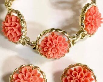 Vintage Carved Coral Colored Celluloid Flower Bracelet and Earrings Set by Emmons