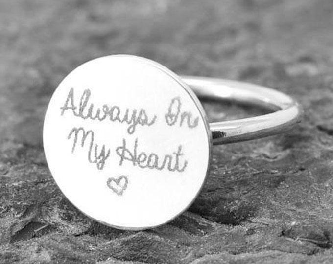 Handwriting Ring, Handwriting Jewelry, Stacking Ring, Circle Ring, Engraved Ring, Personalized Jewelry, Bridesmaid Gift, Best Friend, Sister