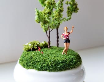 Miniature World Woman in Red Pin Up Blonde 40's Vintage Antique Dish Handmade One of a Kind Art Walk in the Woods Nature Walk Railroad Moss