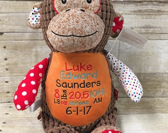 Birth Stat Stuffed Animal, Personalized stuffed animal, Baby gift, Baby keepsake, Embroidered stuffed animal
