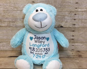 Birth Stat Stuffed Animal, Personalized Baby Gift, Personalized Bear, Embroidered Bear, Custom baby gift, Bear Stuffed Animal