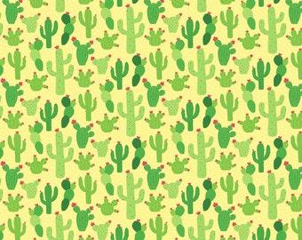 Cactus on Yellow from Northcott Fabric's Llama Llama Collection