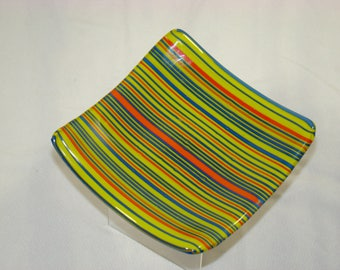 Fused Glass Striped Small Square Plate