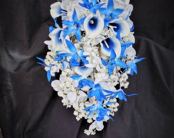 Royal blue, white cascading bouquet, bridal cascade bouquet, calla lily, orchids, hydrangeas, wisterias, artifical flower, real touch flower
