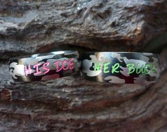 camo ring set his her camouflage stainless steel rings name rings wedding - Camo Wedding Ring Sets