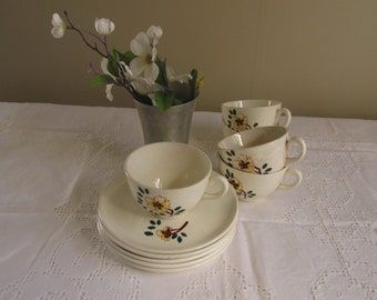 Vintage Flower Design French Cups and Saucer/Lot of Five Matching/Marked Hand Painted Made in France/Spring Table Decor/Rustic Bridal Supply