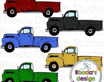 Maroon, Black, Gold, Green, Blue Vintage Pickup Truck Full Side Stamp Digital Clip Art Retro