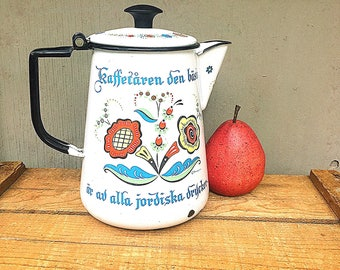 Enamel COFFEE POT | Vintage c.1960's Swedish Berggren Coffee Pot | Folk Art Rosemaling | Mid-Century Scandinavian Design | Enamelware