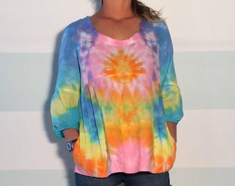 Vince Brand Tie Dye Peplum Blouse Upcycled - It has pockets : )