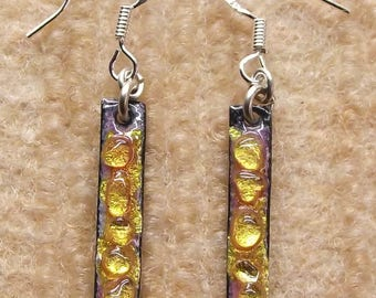 """""""Hooks"""" for pierced ears, yellow enamel earrings"""