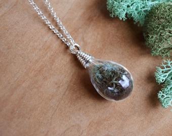Terrarium Necklace, Moss Necklace, Glass Terrarium, Hope Necklace, Terrarium Jewelry, Hope Jewelry, Nature Lovers Gift, Garden Jewelry, Moss