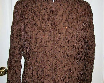 Vintage Ladies Brown Sequin Trimmed Satin Jacket by Laura Ashley Petite Large Only 10 USD