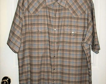 Vintage Men's Tan Plaid Snap Front Short Sleeve Shirt by Plains Western Wear XL Only 7 USD