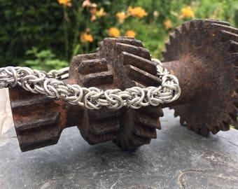Stainless Steel Bracelet, Steel Chainmaille Bracelet, Heavyweight Chain, Shackle Clasp Bracelet, Large Byzantine Bracelet, Handmade Chain