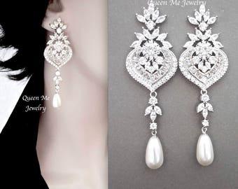 Long pearl earrings,AAA+ Cubic zirconia earrings,Marquise cut, brides pearl earrings,Pearl wedding earrings, Bridal jewelry, LUX, LILLY