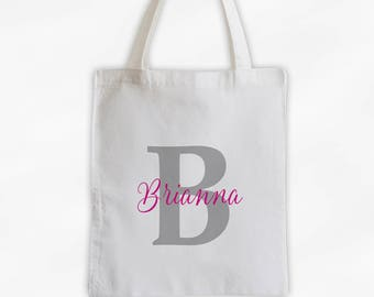 Initial and Script Name Cotton Canvas Personalized Tote Bag - Monogram Custom Gift in Gray and Hot Pink  (3005)