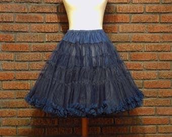 Vintage Navy Blue Crinoline Petticoat Women's S / M
